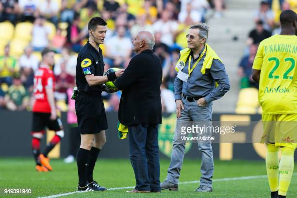 Jean Claude Suaudeau and Raynald Denoueix former legendary headcoaches of Nantes during the Ligue 1 match between Nantes and Stade Rennes at Stade de...