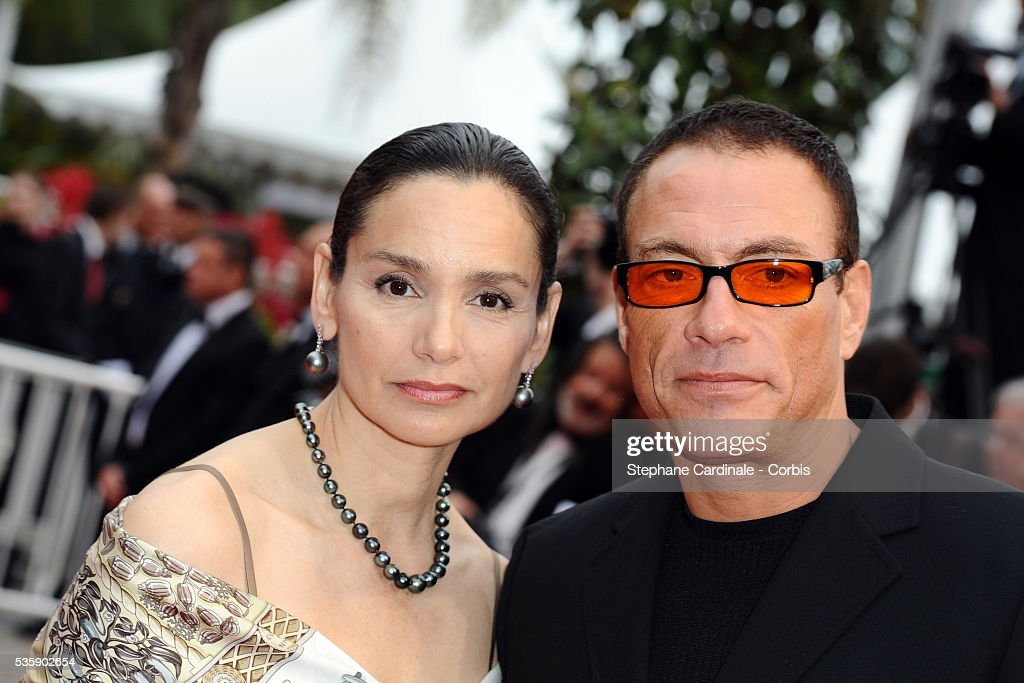 Jean Claude Van Damme and Gladys Portugues at the Premiere for 'You will meet a tall dark stranger' during the 63rd Cannes International Film Festival.