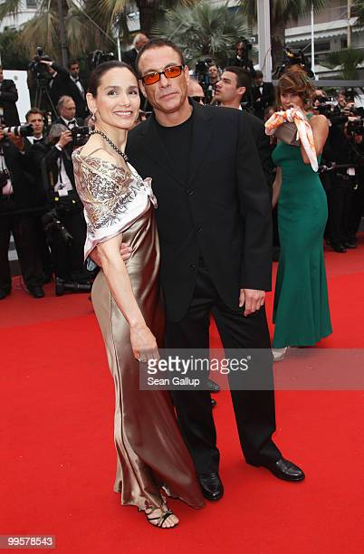 """Jean Claude Van Damme and Gladys Portugues attend the """"You Will Meet A Tall Dark Stranger"""" Premiere at the Palais des Festivals during the 63rd..."""