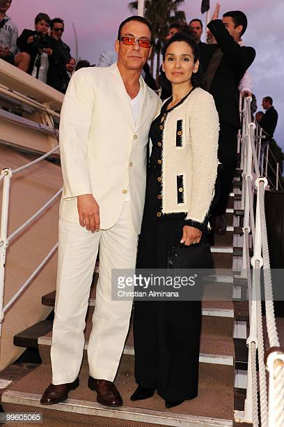 Jean Claude van Damme and Gladys Portugues attends the Variety Celebrates Ashok Amritraj event held at the Martini Terraza during the 63rd Annual...