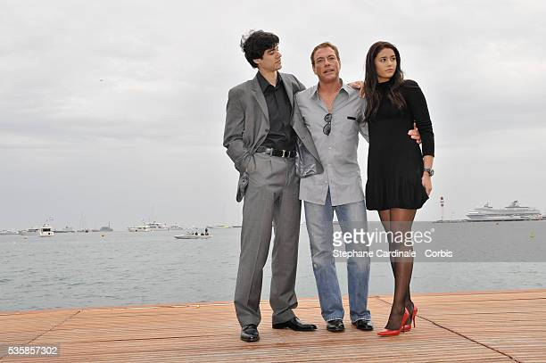 Jean Claude Van Damme with his son and daughter attend the photocall of JCVD during the 61st Cannes Film Festival