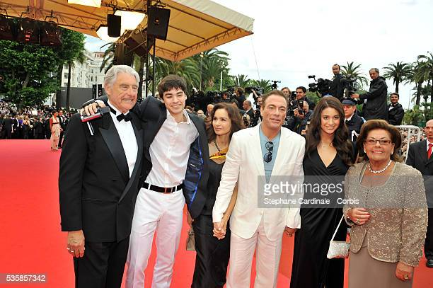 Jean Claude Van Damme with his wife daughter son and parents at the premiere of Un Conte de Noel during the 61st Cannes Film Festival
