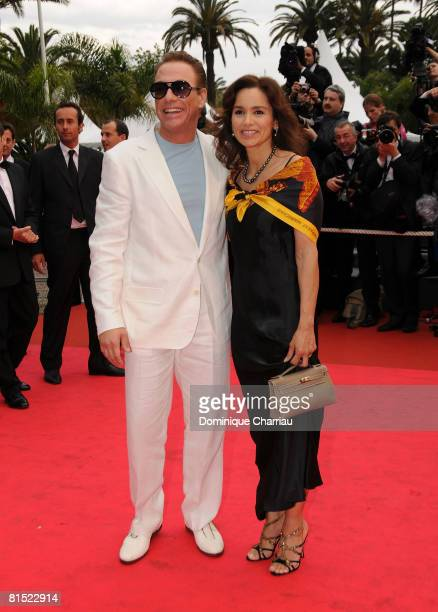 "Jean Claude van Damme with his wife Gladys Portugues attend the ""Un Conte de Noel"" premiere at the Palais des Festivals during the 61st Cannes..."