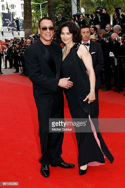 Jean Claude Vandamme and Gladys Portuges attend the 'Robin Hood' Premiere at the Palais des Festivals during the 63rd Annual Cannes Film Festival on...