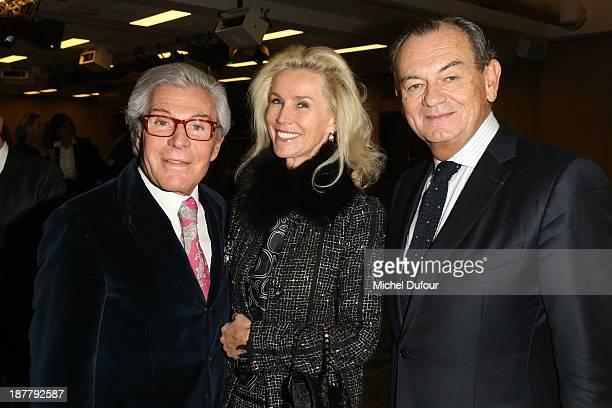 Jean Daniel Lorieux, Laura Restelli and Gilles Bragard attend Gilles Bragard's new book 'Chef Des Chefs' launch at Google Auditorium on November 12,...