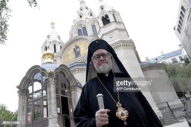 Jean de Charioupolis Archbishop of the Russian Orthodox Churches in Western Europe poses on October 19 2017 outside the Russian Cathedral St...