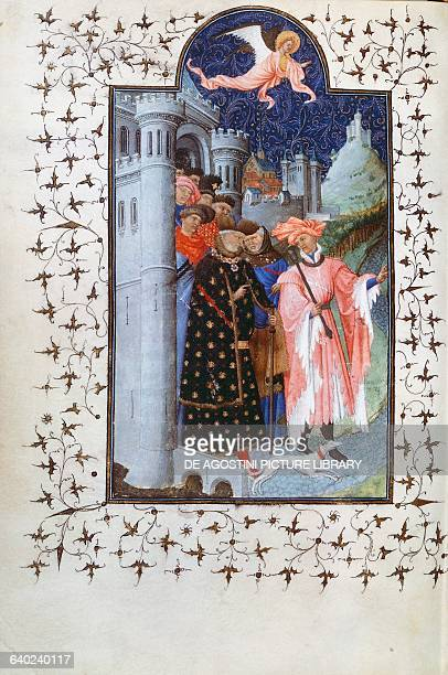Jean de France Duke of Berry departing on a pilgrimage miniature by the Limbourg brothers from Petites Heures of Jean de France Duc de Berry f 228...