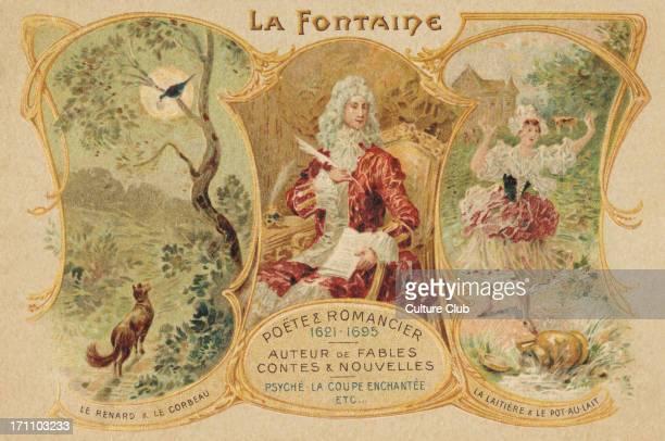 Jean de La Fontaine French poet Sat in chair writing with 'Le renard le corbeau' and 'La laitiere le potau lait' JF 8 July 1621 – 13 April 1695