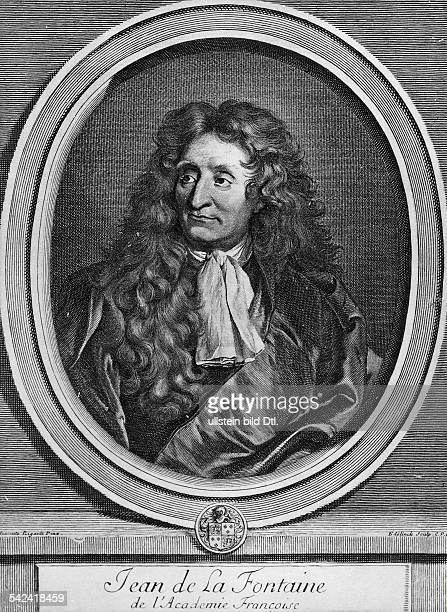 Jean de La Fontaine*08.07.1621-13.04.1695+Writer, FranceEngraving by Edelnick after a painting by Hyacinthe Rigaud