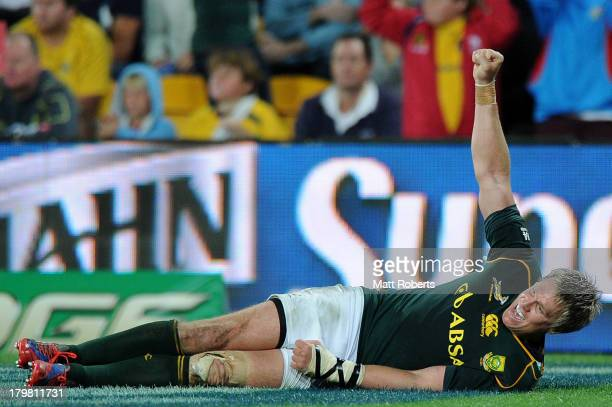 Jean de Villers of the Springboks celebrates a try during The Rugby Championship match between the Australian Wallabies and the South African...