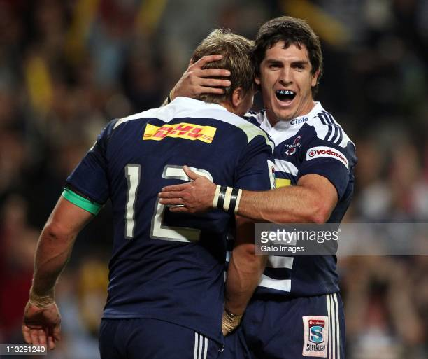Jean de Villiers and Jacque Fourie of the Stormers celebrate during the Vodacom Super Rugby match between DHL Stormers and Sharks from DHL Newlands...