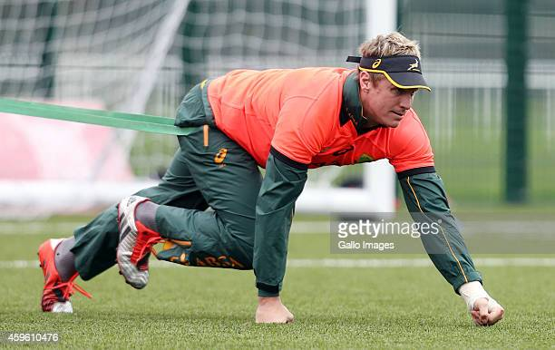 Jean de Villiers of South Africa during the Springboks training session at Cardiff Arms Park on November 26 2014 in Cardiff Wales