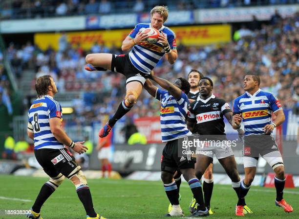 Jean de Villiers of Western Province takes the high ball during the Absa Currie Cup final match between DHL Western Province and The Sharks at DHL...