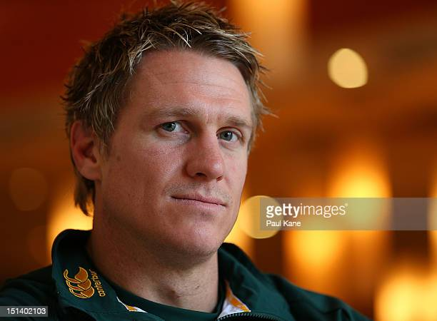 Jean de Villiers poses for a portrait during a South Africa Springboks media session at the Pan Pacific Hotel on September 7 2012 in Perth Australia