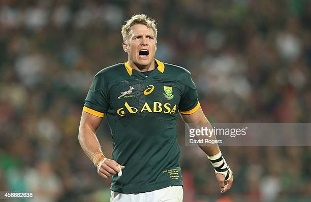 Jean de Villiers the South Africa captain issues instructions during the Rugby Championship match between the South African Springboks and the New...