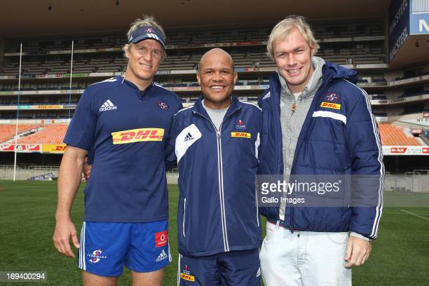 Jean de Villiers Tinus Linee and Schalk Burger during the DHL Stormers captains run at DHL Newlands on May 24 2013 in Cape Town South Africa Former...