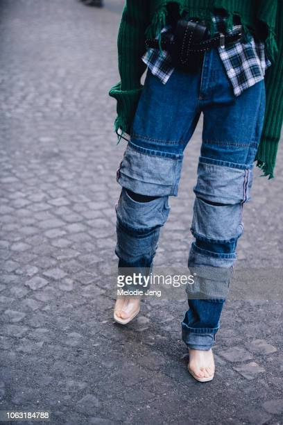 Jean details outside the Y/Project show during Paris Fashion Week Spring/Summer 2019 on September 27 2018 in Paris France