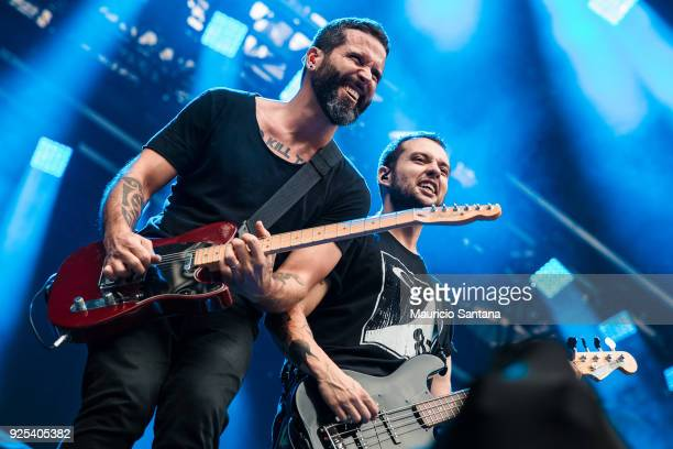 Jean Dolabella and Theo van der Loo members of the band Ego Kill Talent performs live on stage at Allianz Parque on February 27 2018 in Sao Paulo...