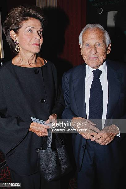 Jean d'Ormesson and his wife Francoise d'Ormesson attend 'La Conversation' By Jean D'Ormesson at Theatre Hebertot on October 16 2012 in Paris France