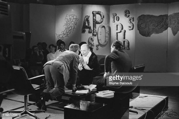 Jean d'Ormesson face à Marguerite Yourcenar avant le tournage de l'émission de télévision Apostrophes présentée par Bernard Pivot