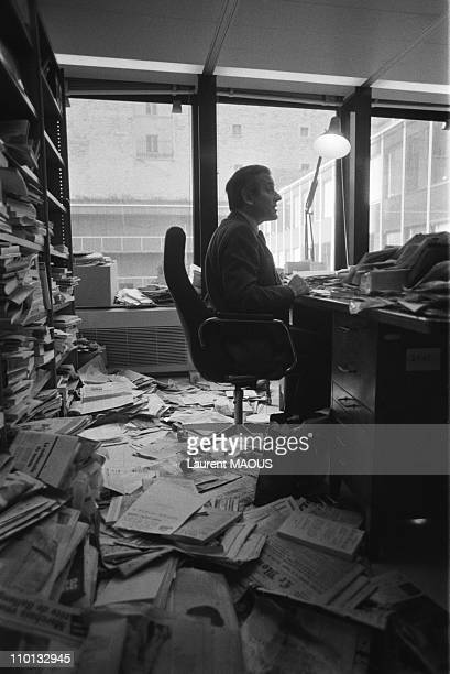 Jean d'Ormesson in his UNESCO office in Paris France on February 6 1981