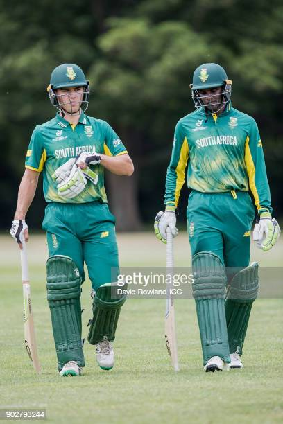 Jean du Plessis and Jiveshan Pillay of South Africa bat during the ICC U19 Cricket World Cup Warm Up match between India and South Africa at Hagley...