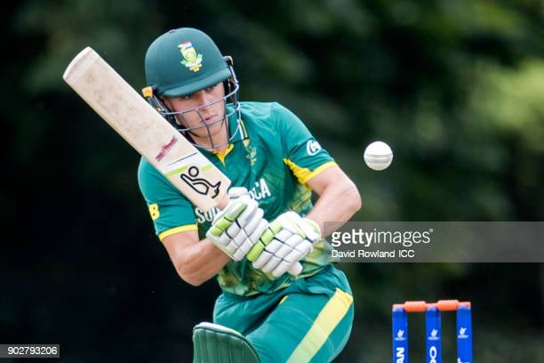 Jean du Plessis of South Africa bats during the ICC U19 Cricket World Cup Warm Up match between India and South Africa at Hagley Park on January 9...