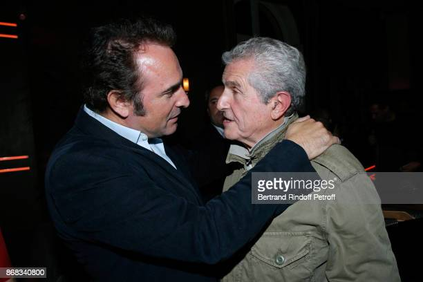 Jean Dujardin and Claude Lelouch attend Claude Lelouch celebrates his 80th Birthday at Restaurant Victoria on October 30 2017 in Paris France