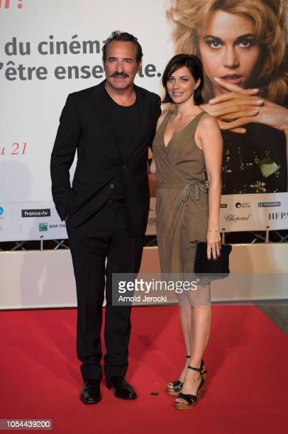 Jean Dujardin and wife Nathalie Péchalat attends the opening ceremony during the 10th Film Festival Lumiere on October 13 2018 in Lyon France