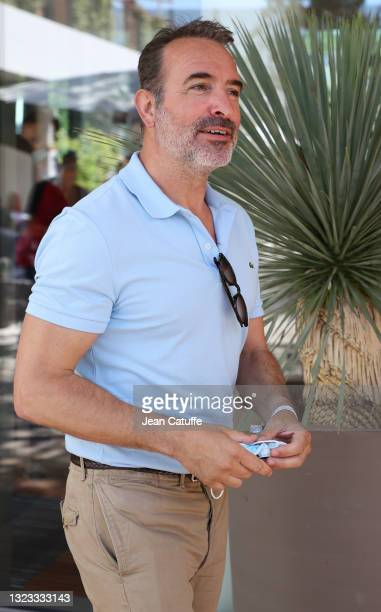 Jean Dujardin attends the Men's Singles Final during day 15 of the 2021 Roland-Garros, French Open, a Grand Slam tennis tournament at Roland-Garros...