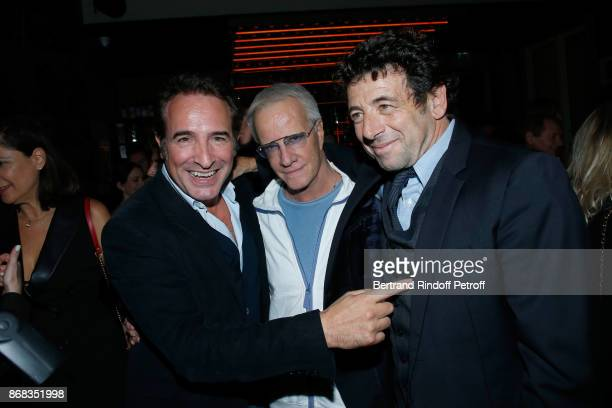 Jean Dujardin Christophe Lambert and Patrick Bruel attend Claude Lelouch celebrates his 80th Birthday at Restaurant Victoria on October 30 2017 in...
