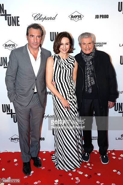 Jean Dujardin Elsa Zylbertstein and Claude Lelouch attend The 'Un Une' Paris Premiere At Cinema UGC Normandie at Cinema UGC Normandie on November 23...