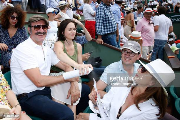 Jean Dujardin Nathalie Pechalat and Elsa Zylberstein attens the Men Final of the 2017 French Tennis Open Day Fithteen at Roland Garros on June 11...