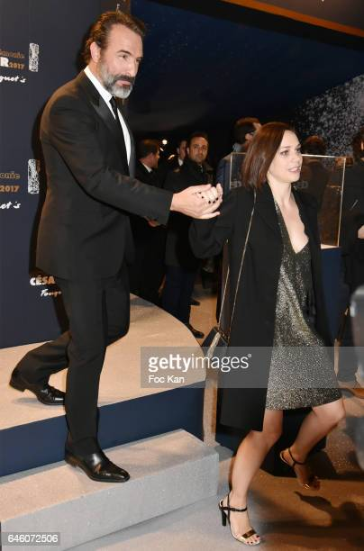 Jean Dujardinand Nathalie Pechalat attend the Cesar's Dinner at Le Fouquet's on February 24 2017 in Paris France