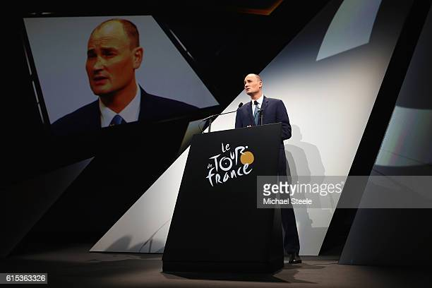 Jean Etienne Amaury the President of ASO during Le Tour de France 2017 Route Announcement at the Palais des Congres on October 18 2016 in Paris France