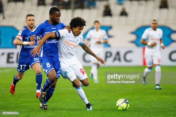 Jean Eudes Aholou of Starsbourg and Luiz Gustavo of Marseille during the Ligue 1 match between Olympique Marseille and Strasbourg at Stade Velodrome...