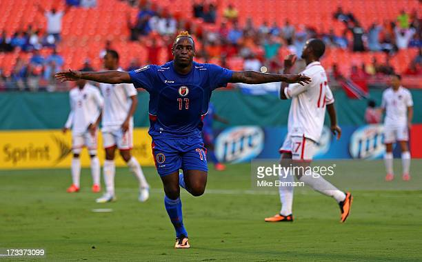 Jean Eudes Maurice of Haiti celebrates scoring a goal during a CONCACAF Gold Cup game against Trinidad Tobago at Sun Life Stadium on July 12 2013 in...
