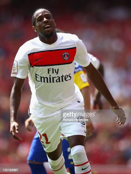 Jean Eudes Maurice of Paris St Germain celebrates scoring the opening goal during the Emirates Cup match between Boca Juniors and Paris St Germain at...