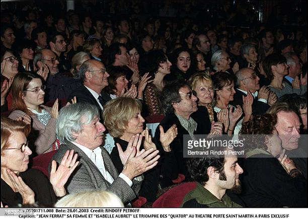 Jean Ferrat his wife and 'Isabelle Aubret' the success of 'Quartets' at the theater Porte Saint Martin in Paris