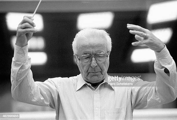 Jean Fournet, conducts at Muziekcentrum on 28th April 1990 in Hilversum, the Netherlands.