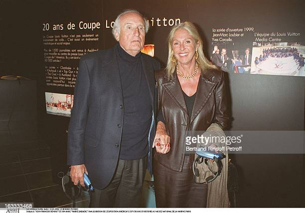 Jean Francois Deniau and his friend Marie Dabadie Exhibition inauguration of America's Cup 150 years of history at the Navy National Museum Paris