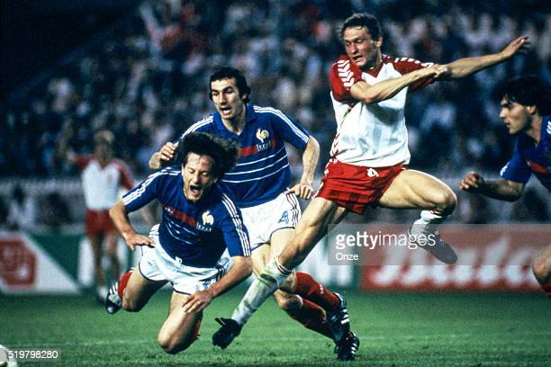 Jean Francois Domergue Maxime Bossis of France and Preben Elkjaer Larsen of Denmark during the Football European Championship between France and...