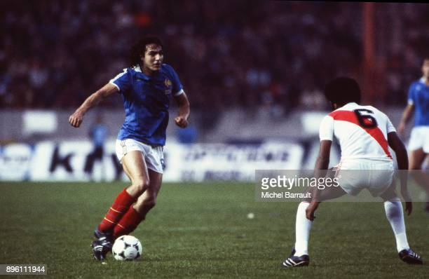 Jean Francois Larios of France during the International Friendly match between France and Peru at Parc des Princes in Paris on April 28th 1982