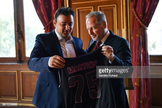 Jean Francois Martins deputy mayor of Paris in charge of sport and David Kahn CEO of Paris Basketball Investments during the press conference of...