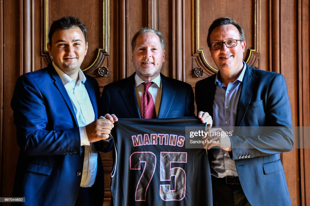 Jean Francois Martins, deputy mayor of Paris in charge of sport, David Kahn, CEO of Paris Basketball Investments and Romuald Coustre new general manager during the press conference of Paris Basket Avenir on July 12, 2018 in Paris, France.