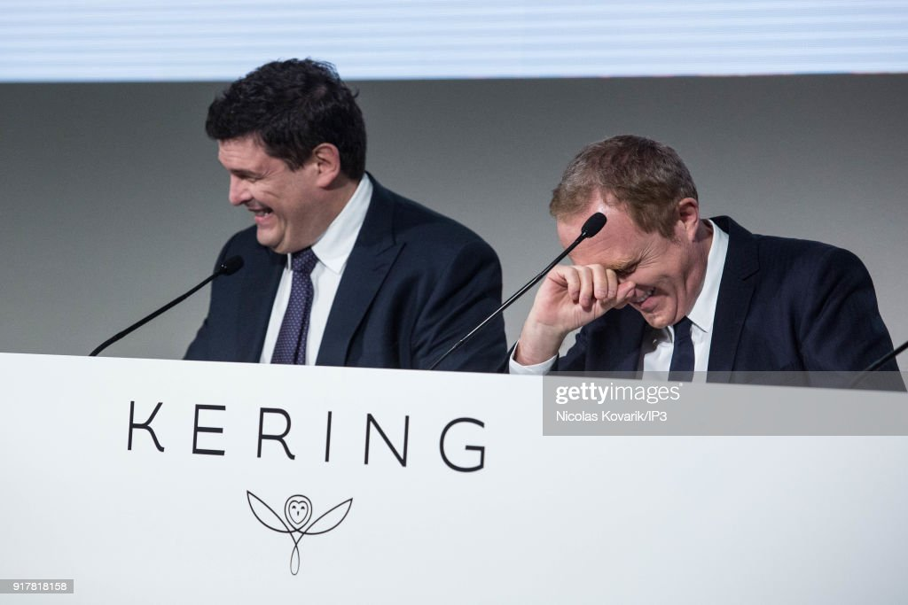Jean Francois Palus, managing director of Kering (L) and Francois Henri Pinault, CEO of Kering (R) during a press conference to announce the company's annual results on February 13, 2018 in Paris, France. The French luxury group have seen a 25% rise in revenue in the fourth quarter thanks in part to strong sales growth at Gucci.