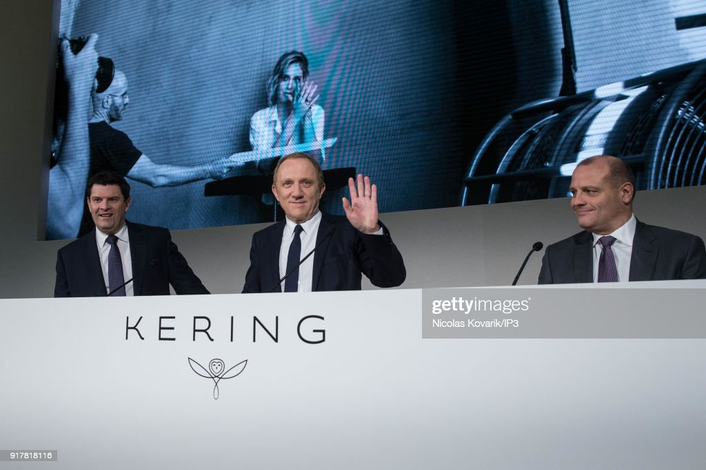 Jean Francois Palus, managing director of Kering, Francois Henri Pinault, CEO of Kering and financial director Jean Marc Duplaix during a press conference to announce the company's annual results on February 13, 2018 in Paris, France. The French luxury group have seen a 25% rise in revenue in the fourth quarter thanks in part to strong sales growth at Gucci.