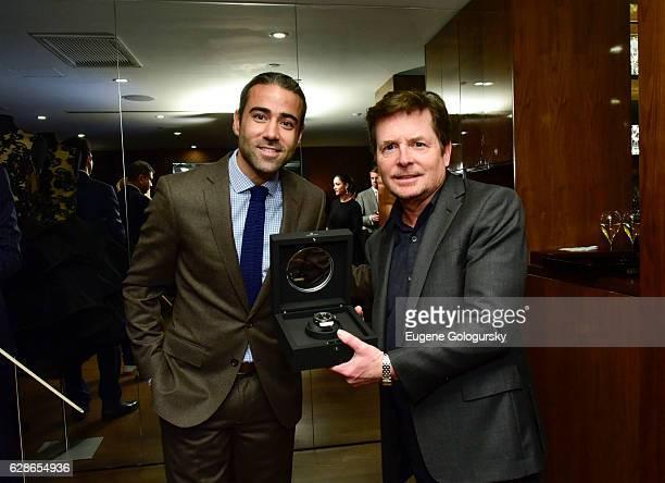 Jean Francois Sberro and Michael JFox attend the Haute Living Celebrates New York Michael J Fox Cover Launch With Hublot And JetSmarter at Domenico...