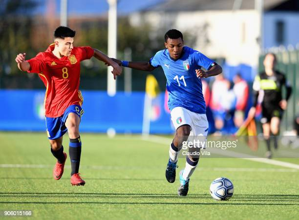Jean Freddi Greco of Italy in action during the U17 International Friendly match between Italy and Spain at Juventus Center Vinovo on January 17 2018...