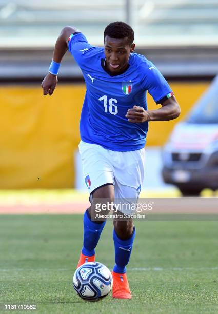 Jean Freddi Greco of Italy U19 in action during the UEFA Elite Round match between Italy U19 and Belgium U19 at Stadio Euganeo on March 20 2019 in...
